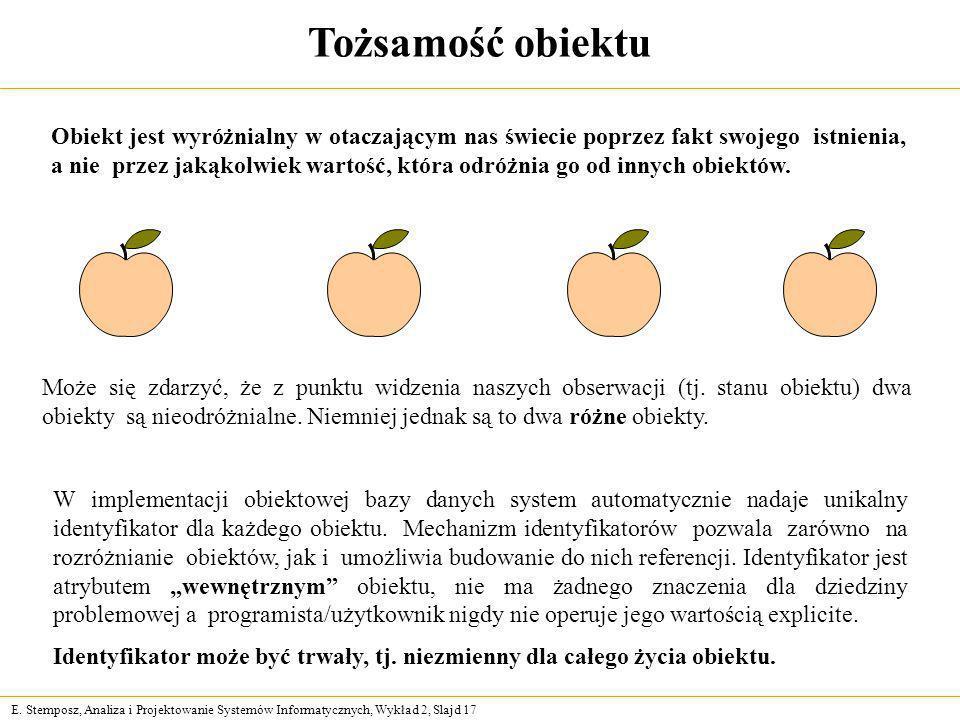 E. Stemposz, Analiza i Projektowanie Systemów Informatycznych, Wykład 2, Slajd 17 Tożsamość obiektu Może się zdarzyć, że z punktu widzenia naszych obs