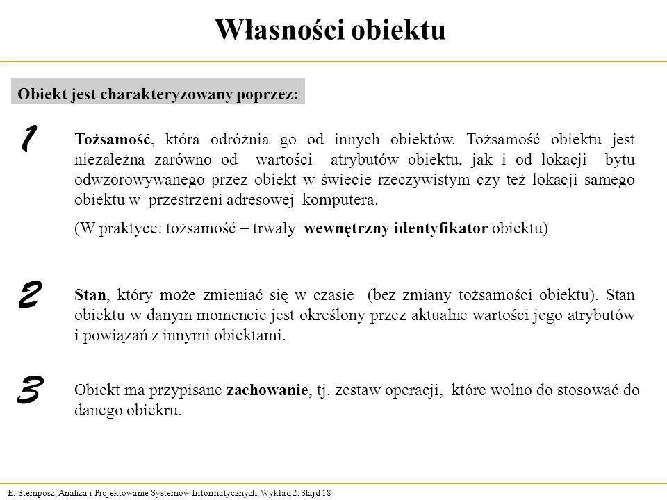 E. Stemposz, Analiza i Projektowanie Systemów Informatycznych, Wykład 2, Slajd 18 Własności obiektu Obiekt jest charakteryzowany poprzez: Tożsamość, k