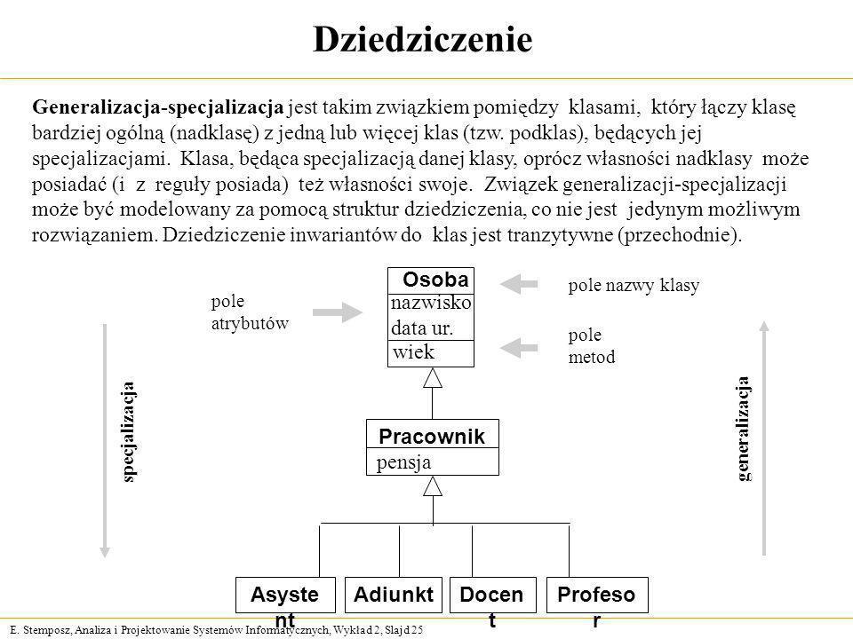 E. Stemposz, Analiza i Projektowanie Systemów Informatycznych, Wykład 2, Slajd 25 Dziedziczenie Generalizacja-specjalizacja jest takim związkiem pomię