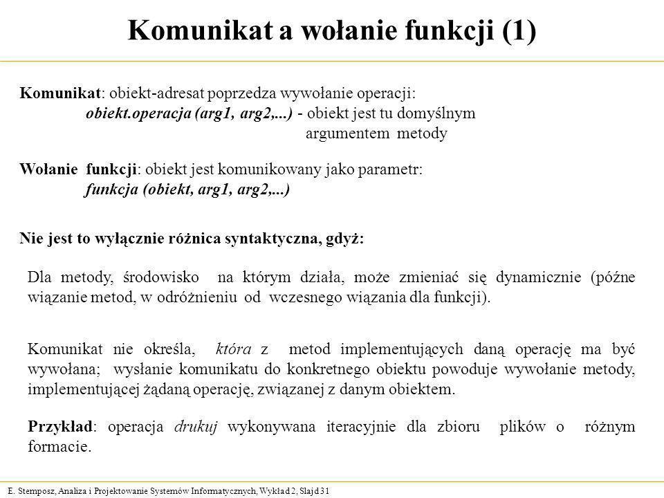 E. Stemposz, Analiza i Projektowanie Systemów Informatycznych, Wykład 2, Slajd 31 Komunikat a wołanie funkcji (1) Nie jest to wyłącznie różnica syntak