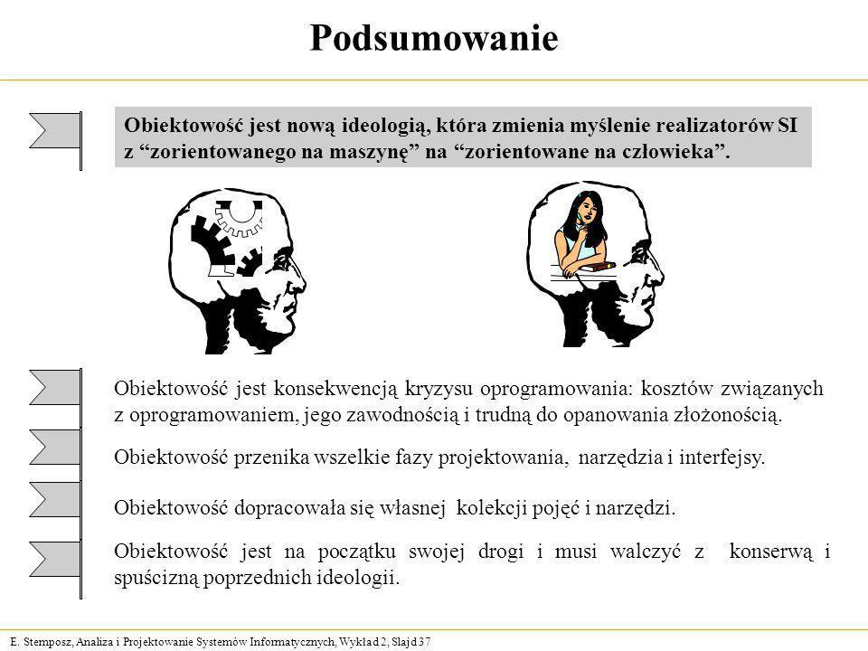 E. Stemposz, Analiza i Projektowanie Systemów Informatycznych, Wykład 2, Slajd 37 Podsumowanie Obiektowość jest nową ideologią, która zmienia myślenie