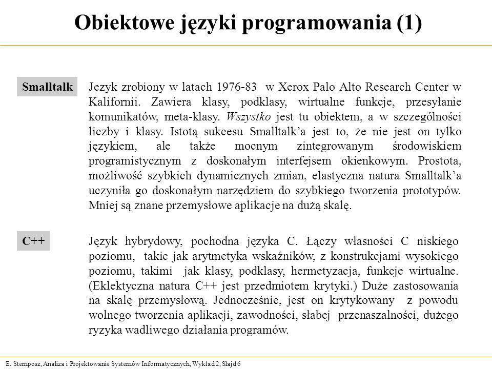 E. Stemposz, Analiza i Projektowanie Systemów Informatycznych, Wykład 2, Slajd 6 Obiektowe języki programowania (1) Jezyk zrobiony w latach 1976-83 w