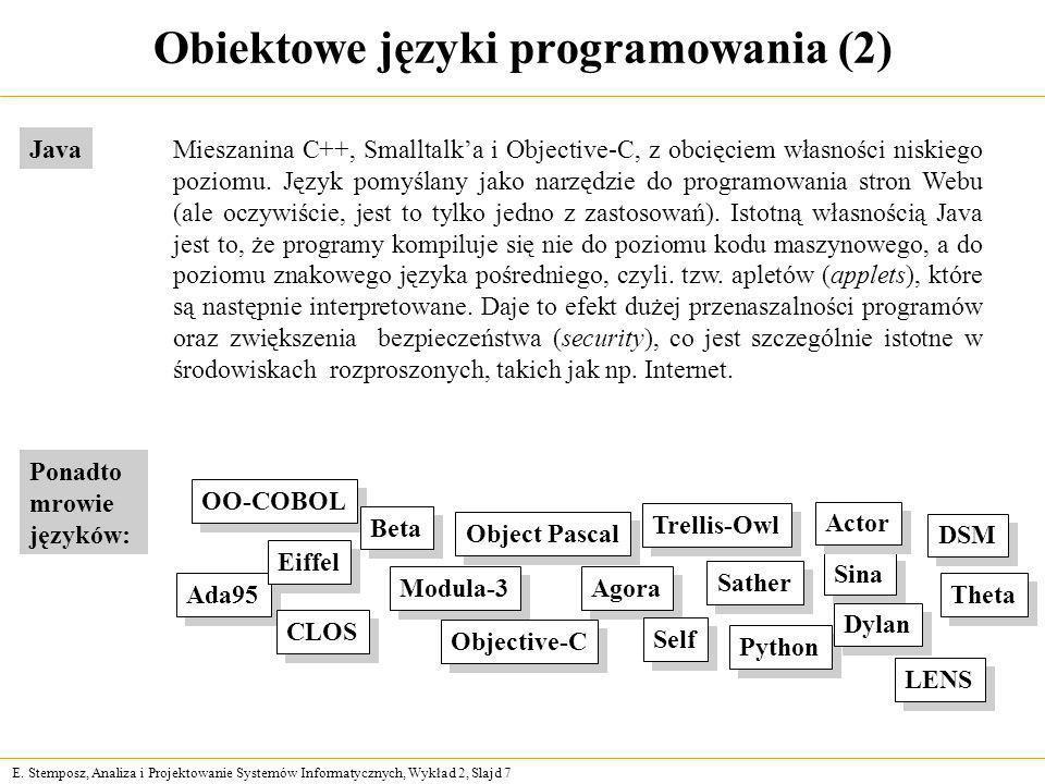 E. Stemposz, Analiza i Projektowanie Systemów Informatycznych, Wykład 2, Slajd 7 Ada95 Agora CLOS Eiffel Modula-3 Objective-C OO-COBOL Self LENS Sathe