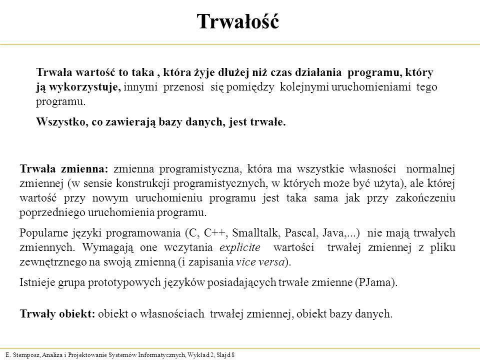E. Stemposz, Analiza i Projektowanie Systemów Informatycznych, Wykład 2, Slajd 8 Trwałość Trwała zmienna: zmienna programistyczna, która ma wszystkie