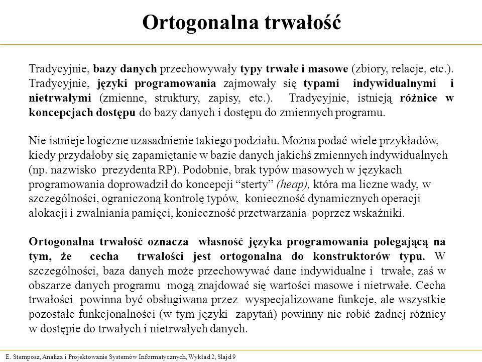 E. Stemposz, Analiza i Projektowanie Systemów Informatycznych, Wykład 2, Slajd 9 Ortogonalna trwałość Nie istnieje logiczne uzasadnienie takiego podzi