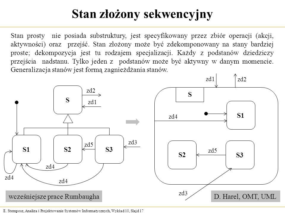 E. Stemposz, Analiza i Projektowanie Systemów Informatycznych, Wykład 10, Slajd 17 Stan złożony sekwencyjny Stan prosty nie posiada substruktury, jest