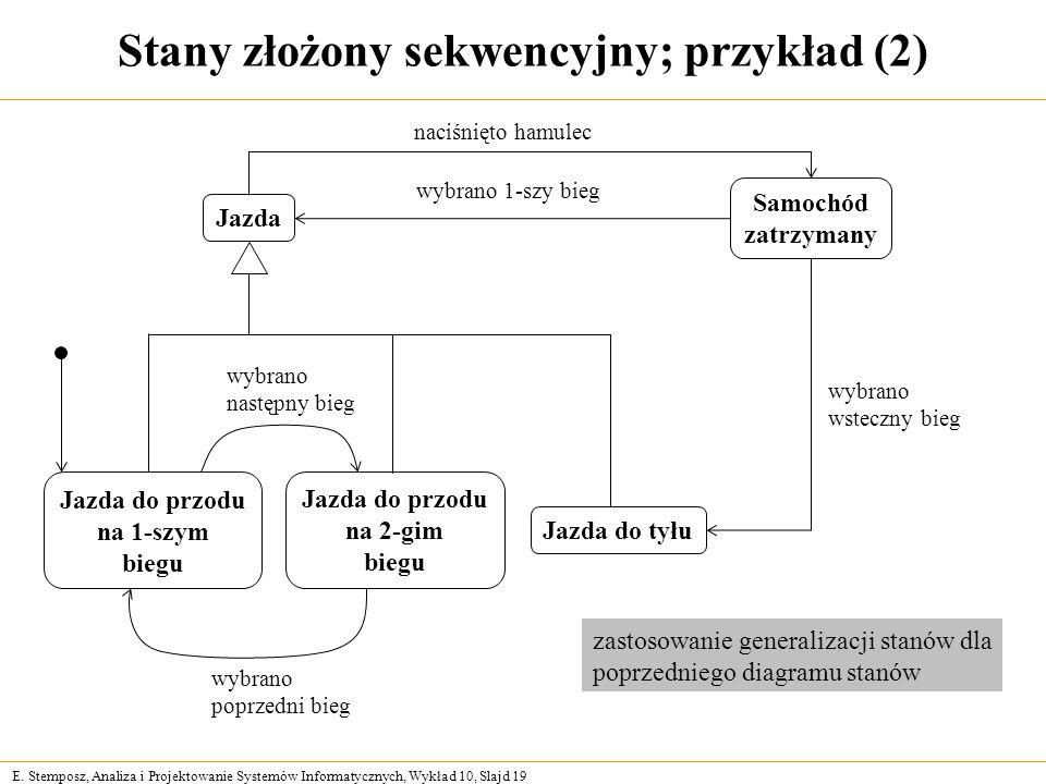 E. Stemposz, Analiza i Projektowanie Systemów Informatycznych, Wykład 10, Slajd 19 Stany złożony sekwencyjny; przykład (2) Jazda do przodu na 1-szym b