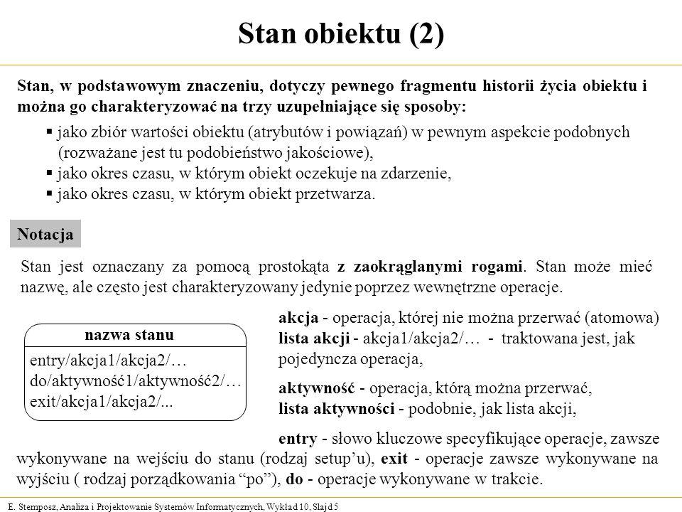 E. Stemposz, Analiza i Projektowanie Systemów Informatycznych, Wykład 10, Slajd 5 Stan obiektu (2) Stan, w podstawowym znaczeniu, dotyczy pewnego frag