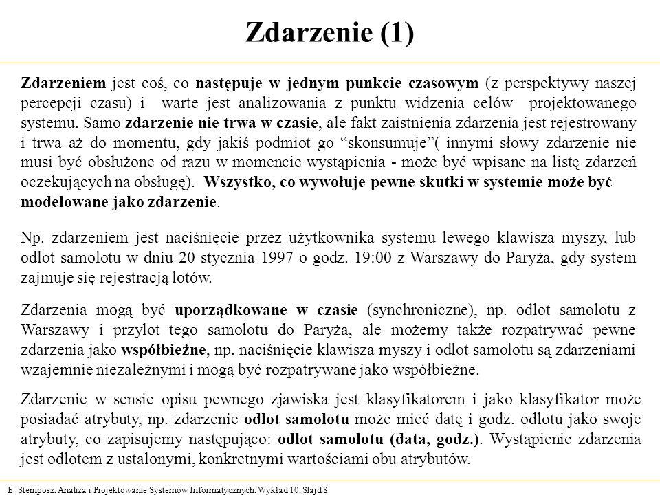 E. Stemposz, Analiza i Projektowanie Systemów Informatycznych, Wykład 10, Slajd 8 Zdarzenie (1) Np. zdarzeniem jest naciśnięcie przez użytkownika syst