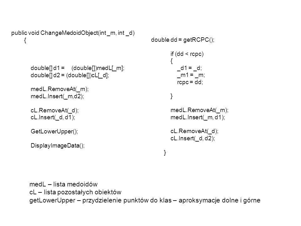public void ChangeMedoidObject(int _m, int _d) { double[] d1 = (double[])medL[_m]; double[] d2 = (double[])cL[_d]; medL.RemoveAt(_m); medL.Insert(_m,d