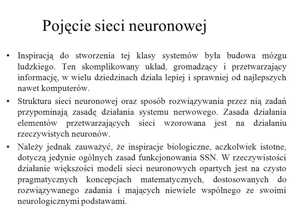 Należy jednak zauważyć, że inspiracje biologiczne, aczkolwiek istotne, dotyczą jedynie ogólnych zasad funkcjonowania SSN.