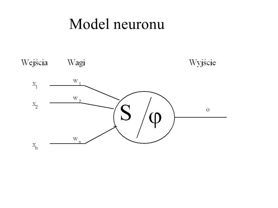 Wartość sygnału wyjściowego o przekazywanego przez neuron (nazywanego również często stanem neuronu) wyznaczana jest przez zależność Przez x 1,..., x n oznaczone zostały wejścia neuronu, natomiast w 1,..., w n są współczynnikami wagowymi, wyznaczanymi w procesie uczenia sieci.
