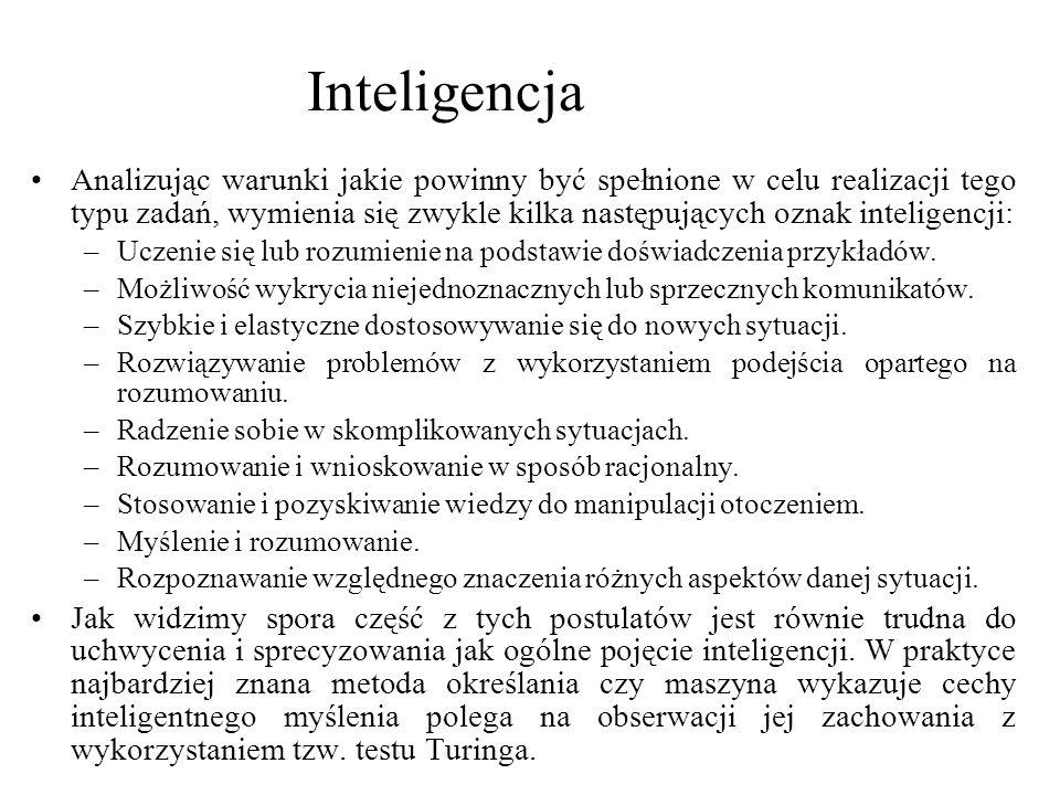 Sztuczna inteligencję moglibyśmy więc zdefiniować jako dziedzinę nauki, której celem jest stworzenie myślącej maszyny.