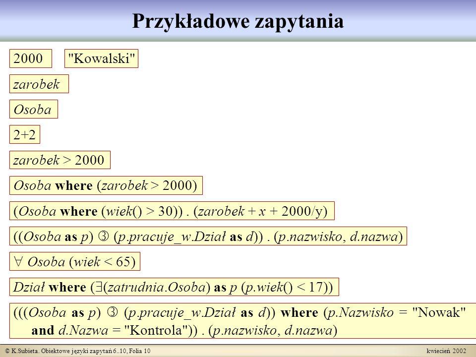 © K.Subieta. Obiektowe języki zapytań 6..10, Folia 10 kwiecień 2002 Przykładowe zapytania 2000