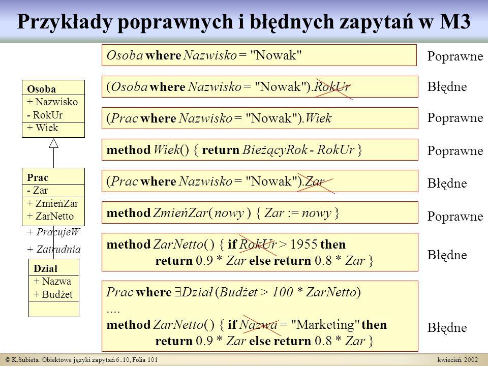 © K.Subieta. Obiektowe języki zapytań 6..10, Folia 101 kwiecień 2002 Przykłady poprawnych i błędnych zapytań w M3 + PracujeW Osoba + Nazwisko - RokUr