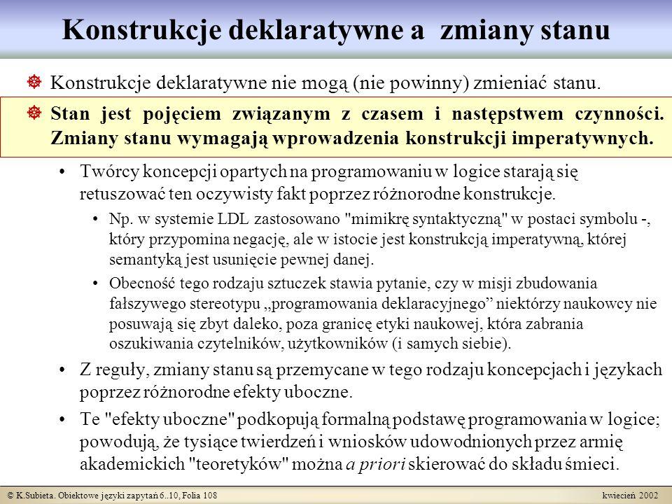© K.Subieta. Obiektowe języki zapytań 6..10, Folia 108 kwiecień 2002 Konstrukcje deklaratywne a zmiany stanu Konstrukcje deklaratywne nie mogą (nie po