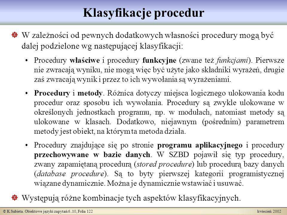 © K.Subieta. Obiektowe języki zapytań 6..10, Folia 122 kwiecień 2002 Klasyfikacje procedur W zależności od pewnych dodatkowych własności procedury mog