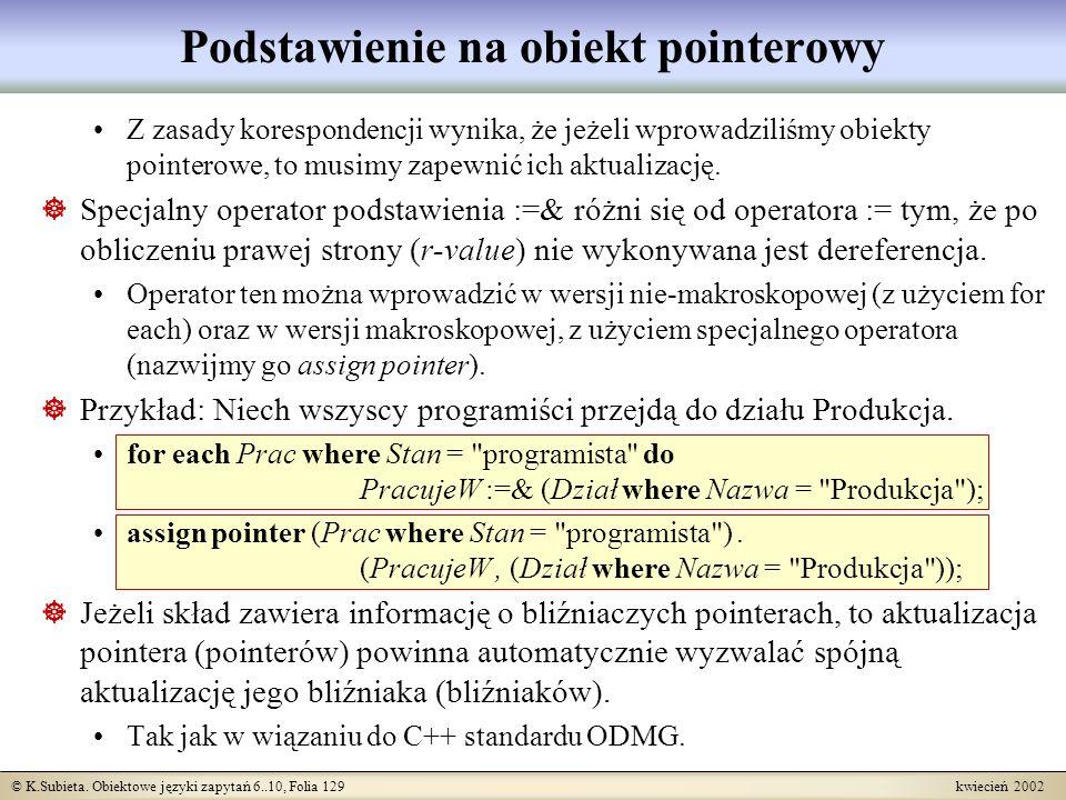 © K.Subieta. Obiektowe języki zapytań 6..10, Folia 129 kwiecień 2002 Podstawienie na obiekt pointerowy Z zasady korespondencji wynika, że jeżeli wprow