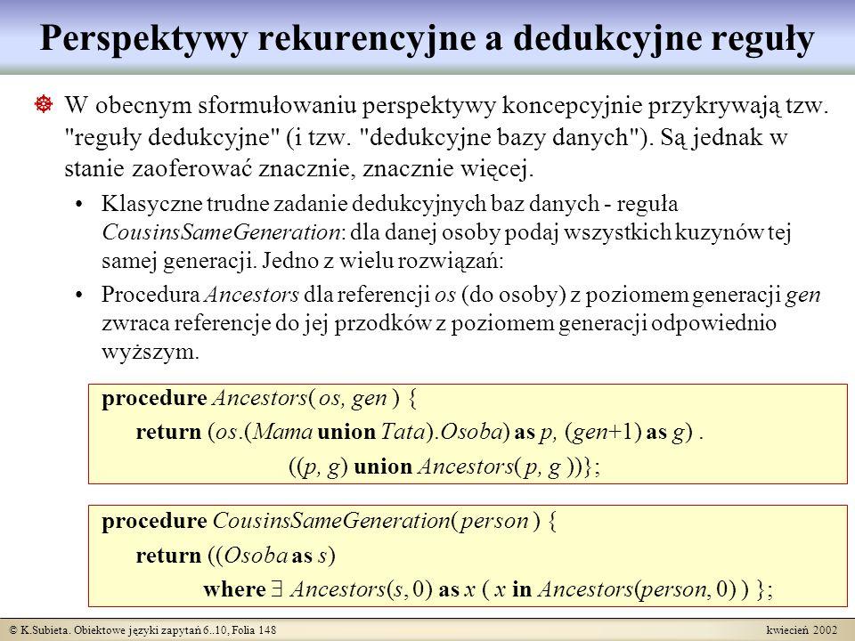 © K.Subieta. Obiektowe języki zapytań 6..10, Folia 148 kwiecień 2002 Perspektywy rekurencyjne a dedukcyjne reguły W obecnym sformułowaniu perspektywy