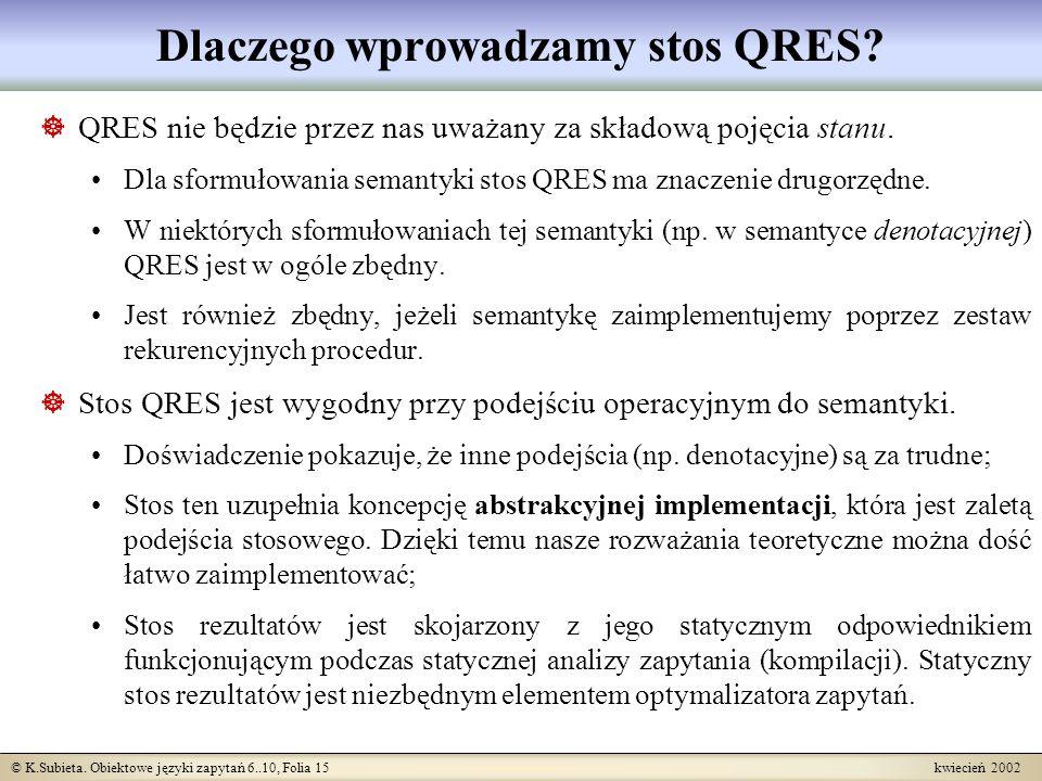© K.Subieta. Obiektowe języki zapytań 6..10, Folia 15 kwiecień 2002 Dlaczego wprowadzamy stos QRES? QRES nie będzie przez nas uważany za składową poję