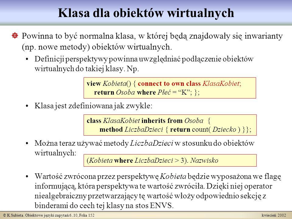 © K.Subieta. Obiektowe języki zapytań 6..10, Folia 152 kwiecień 2002 Klasa dla obiektów wirtualnych Powinna to być normalna klasa, w której będą znajd