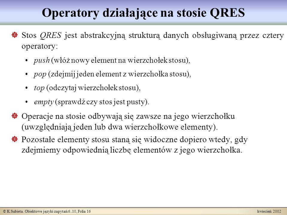 © K.Subieta. Obiektowe języki zapytań 6..10, Folia 16 kwiecień 2002 Operatory działające na stosie QRES Stos QRES jest abstrakcyjną strukturą danych o