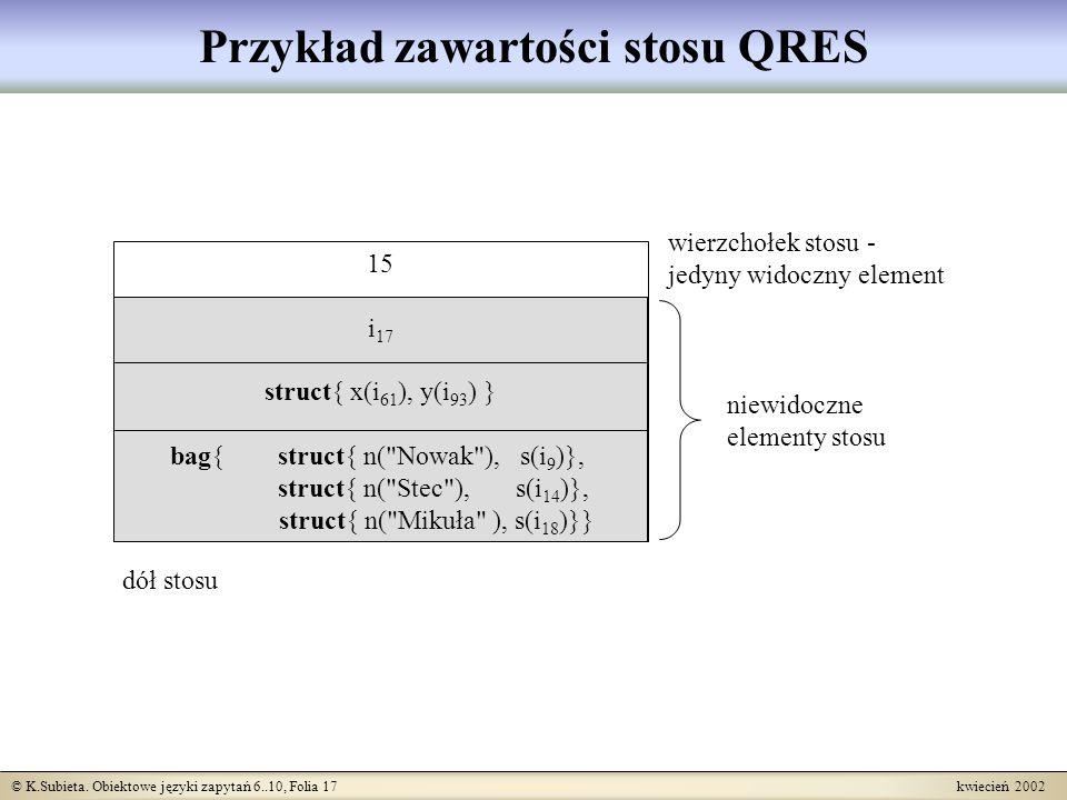 © K.Subieta. Obiektowe języki zapytań 6..10, Folia 17 kwiecień 2002 15 i 17 struct{ x(i 61 ), y(i 93 ) } bag{ struct{ n(