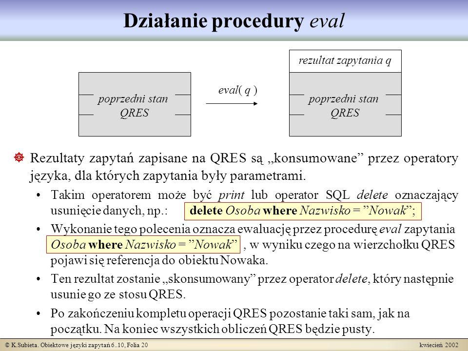 © K.Subieta. Obiektowe języki zapytań 6..10, Folia 20 kwiecień 2002 poprzedni stan QRES eval( q ) rezultat zapytania q poprzedni stan QRES Działanie p