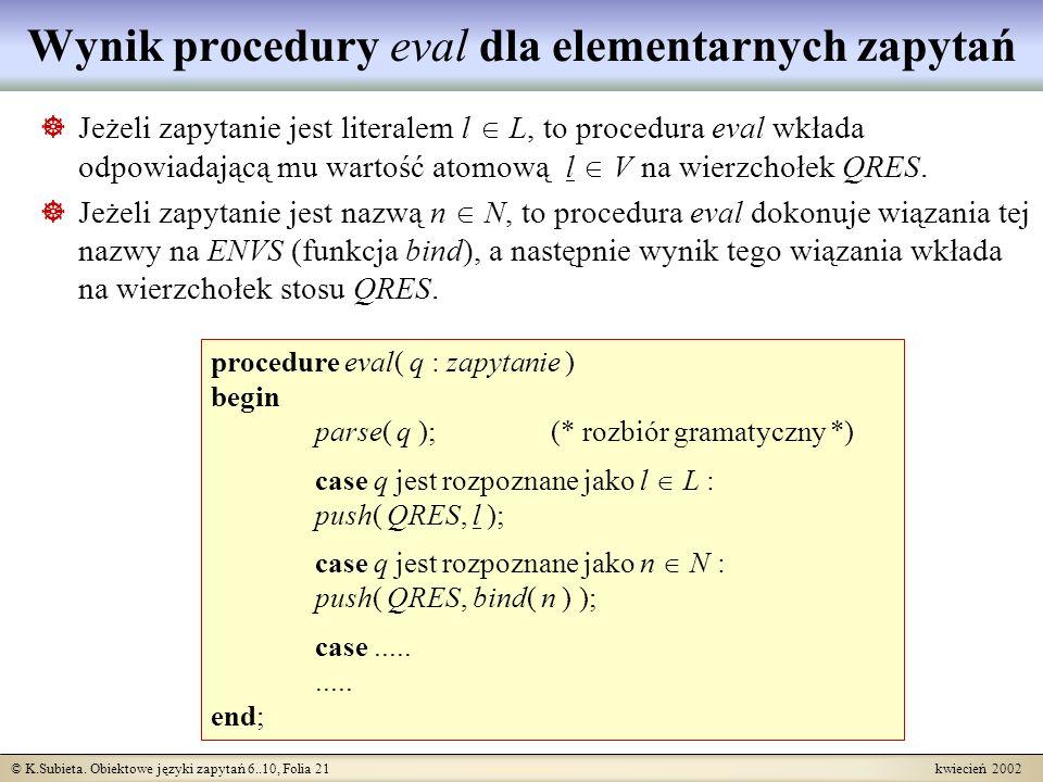 © K.Subieta. Obiektowe języki zapytań 6..10, Folia 21 kwiecień 2002 Wynik procedury eval dla elementarnych zapytań Jeżeli zapytanie jest literalem l L