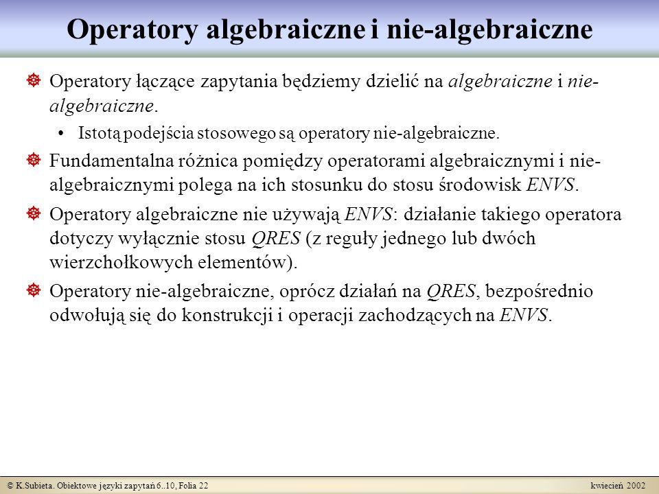 © K.Subieta. Obiektowe języki zapytań 6..10, Folia 22 kwiecień 2002 Operatory algebraiczne i nie-algebraiczne Operatory łączące zapytania będziemy dzi