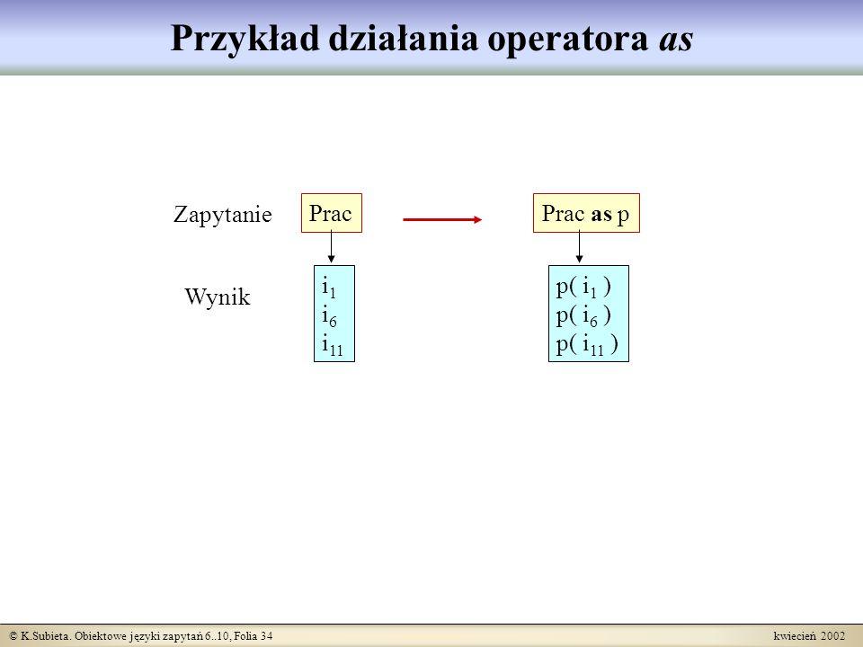 © K.Subieta. Obiektowe języki zapytań 6..10, Folia 34 kwiecień 2002 Przykład działania operatora as i 1 i 6 i 11 Prac p( i 1 ) p( i 6 ) p( i 11 ) Prac