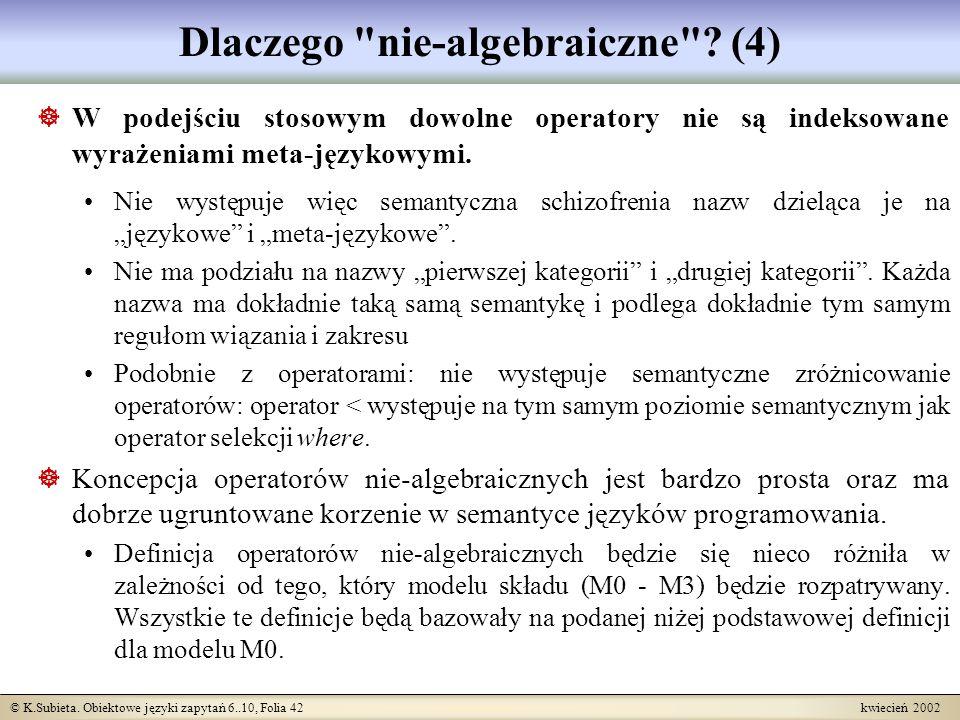 © K.Subieta. Obiektowe języki zapytań 6..10, Folia 42 kwiecień 2002 Dlaczego