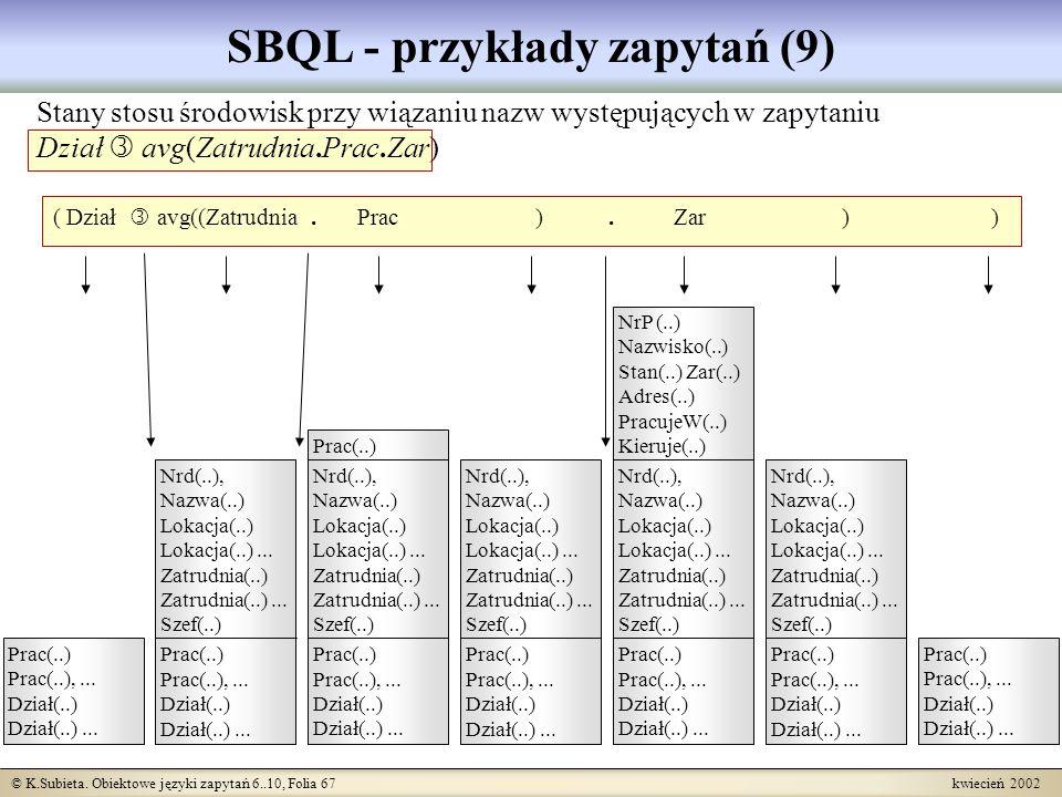 © K.Subieta. Obiektowe języki zapytań 6..10, Folia 67 kwiecień 2002 SBQL - przykłady zapytań (9) ( Dział avg((Zatrudnia. Prac ). Zar ) ) Prac(..) Prac