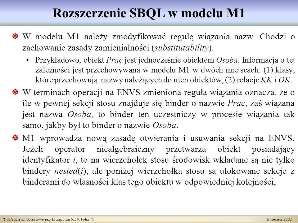 © K.Subieta. Obiektowe języki zapytań 6..10, Folia 75 kwiecień 2002 Rozszerzenie SBQL w modelu M1 W modelu M1 należy zmodyfikować regułę wiązania nazw