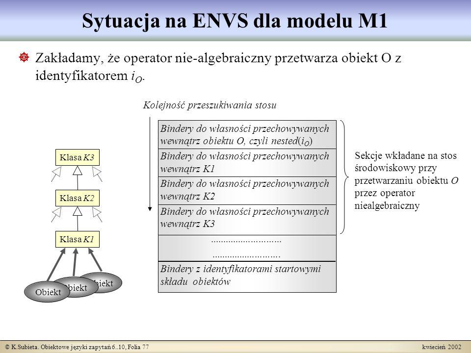 © K.Subieta. Obiektowe języki zapytań 6..10, Folia 77 kwiecień 2002 Bindery do własności przechowywanych wewnątrz obiektu O, czyli nested( i O ) Binde