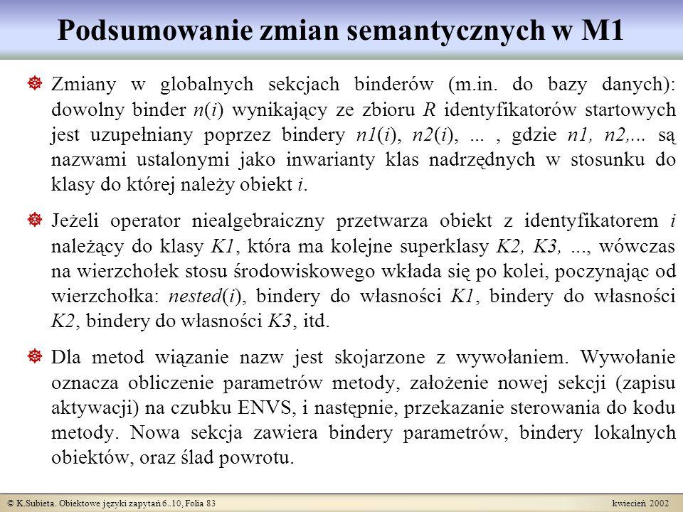 © K.Subieta. Obiektowe języki zapytań 6..10, Folia 83 kwiecień 2002 Podsumowanie zmian semantycznych w M1 Zmiany w globalnych sekcjach binderów (m.in.