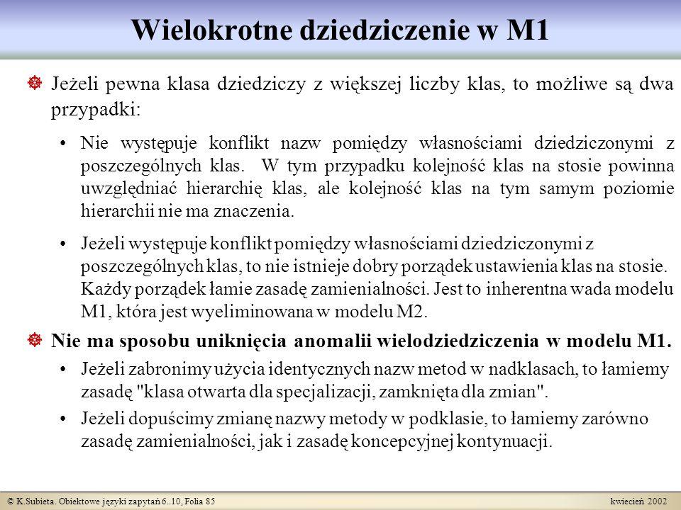 © K.Subieta. Obiektowe języki zapytań 6..10, Folia 85 kwiecień 2002 Wielokrotne dziedziczenie w M1 Jeżeli pewna klasa dziedziczy z większej liczby kla