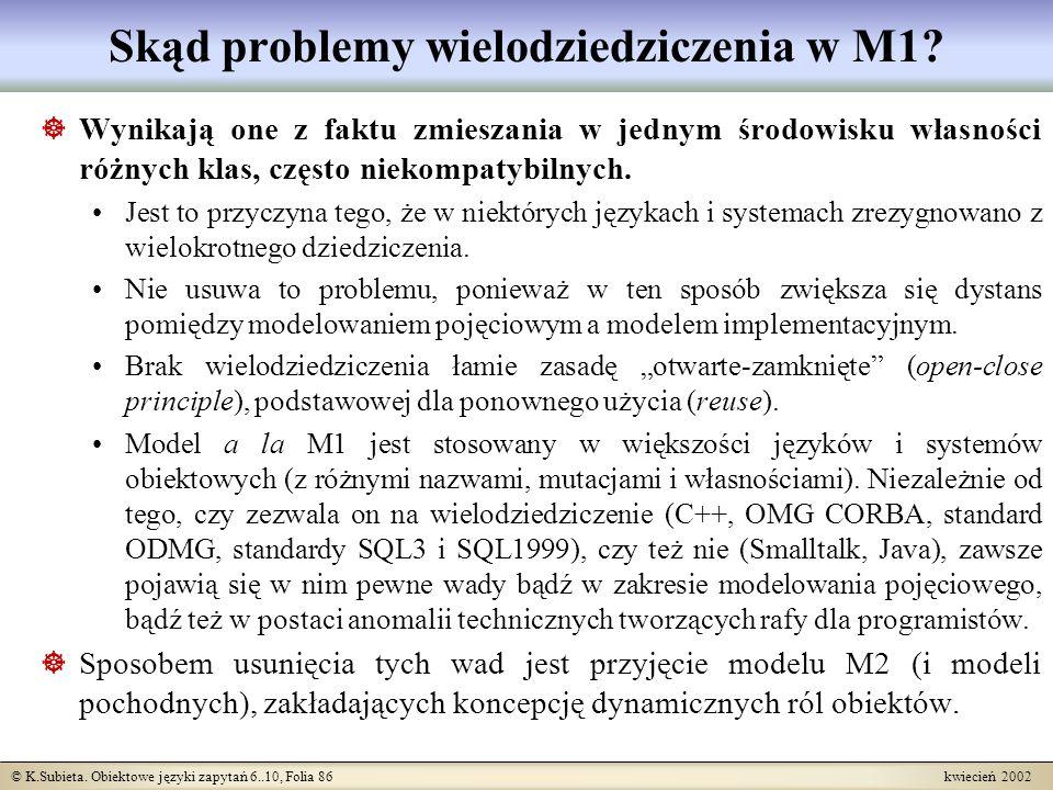 © K.Subieta. Obiektowe języki zapytań 6..10, Folia 86 kwiecień 2002 Skąd problemy wielodziedziczenia w M1? Wynikają one z faktu zmieszania w jednym śr
