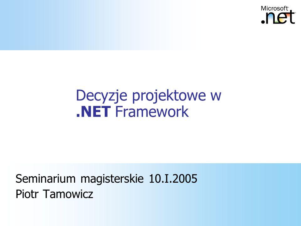 Podsumowanie, bibliografia MSDN Library P&P: Application Architecture for.NET Building Secure ASP.NET Solutions http://www.microsoft.com/downloads/ release.asp?ReleaseID=44047 http://www.microsoft.com/downloads/ release.asp?ReleaseID=44047
