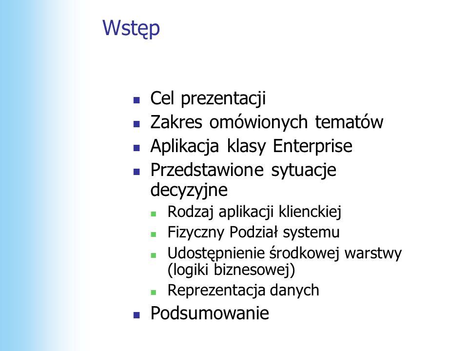 Warstwa prezentacji Warstwa Danych Udostępnienie warstwy logiki biznesowej Web Services Façade WS Façade (asmx) WS Façade (asmx) ASP.NET UI (aspx) ASP.NET UI (aspx) Warstwa Logiki WS Façade WS Façade Biz Services Biz Services DALDAL DALDAL SPSP SPSP + Rozmieszczenie + Możliwość ponownego użycia - Wydajność - X-proces przy każdym żądaniu