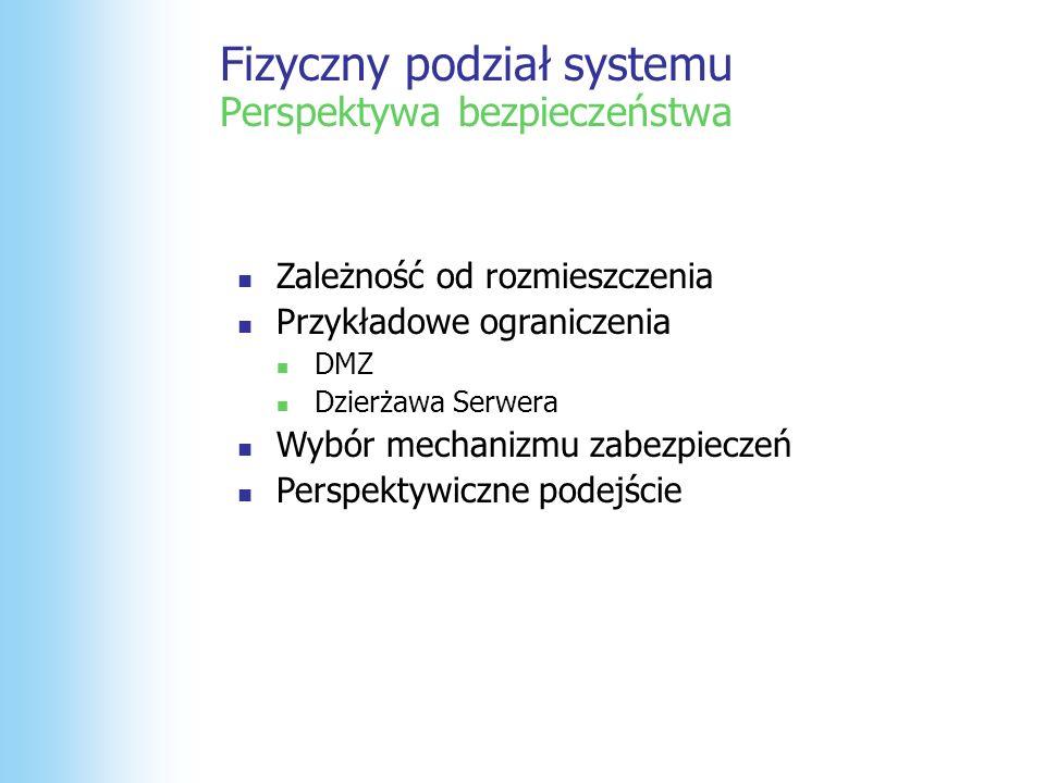 Warstwa Prezentacji Warstwa Danych Autentykacja i Autoryzacja WS Façade WS Façade ASP.NET UI ASP.NET UI Warstwa Logiki WS Façade WS Façade ES Façade ES Façade Biz Services Biz Services DALDAL DALDAL SPSP SPSP Użytkownik wprowadza UserID i Password Custom HTTP Handler rozpakowuje dane użytkownika i wywołuje metodę z fasady która tworzy obiekt principal.