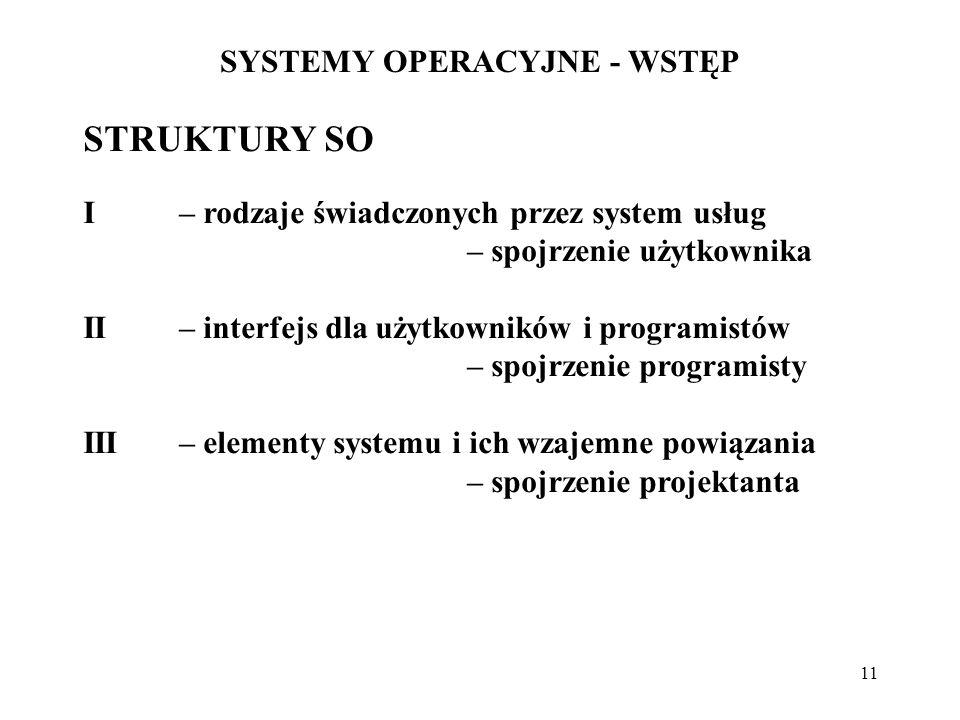 11 SYSTEMY OPERACYJNE - WSTĘP STRUKTURY SO I – rodzaje świadczonych przez system usług – spojrzenie użytkownika II– interfejs dla użytkowników i progr