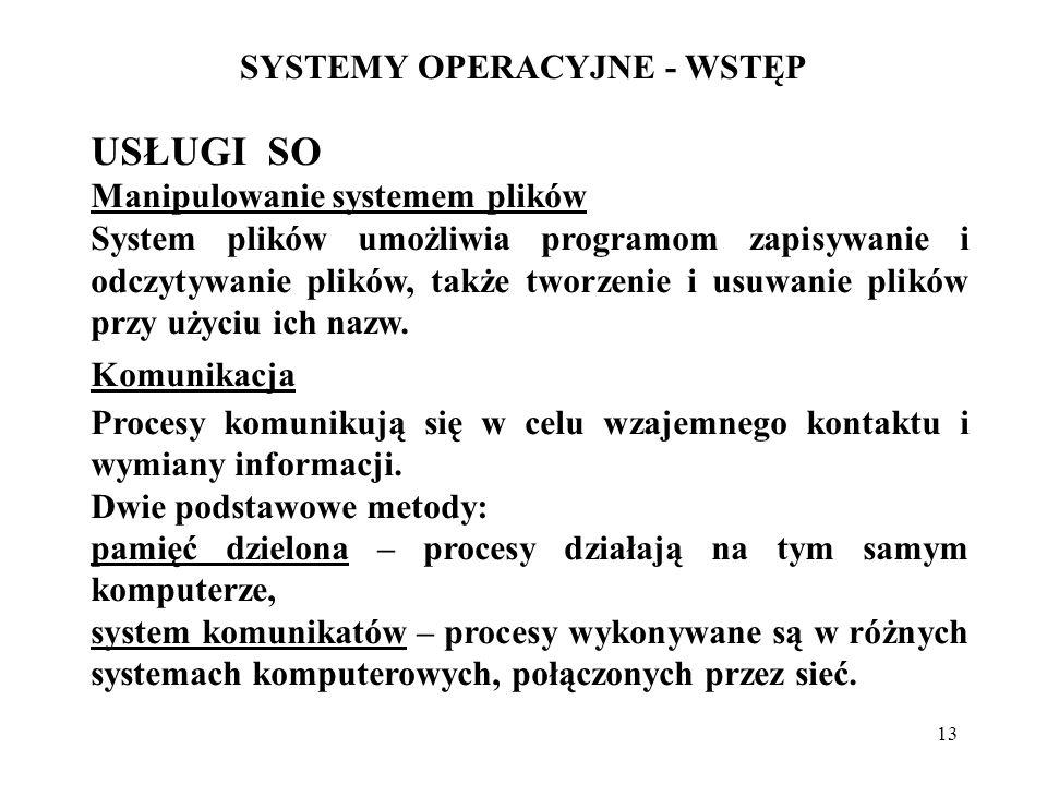 13 SYSTEMY OPERACYJNE - WSTĘP USŁUGI SO Manipulowanie systemem plików System plików umożliwia programom zapisywanie i odczytywanie plików, także tworz