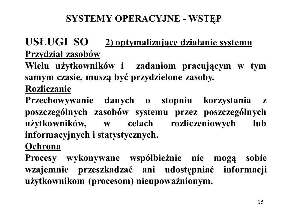 15 SYSTEMY OPERACYJNE - WSTĘP USŁUGI SO 2) optymalizujące działanie systemu Przydział zasobów Wielu użytkowników i zadaniom pracującym w tym samym cza