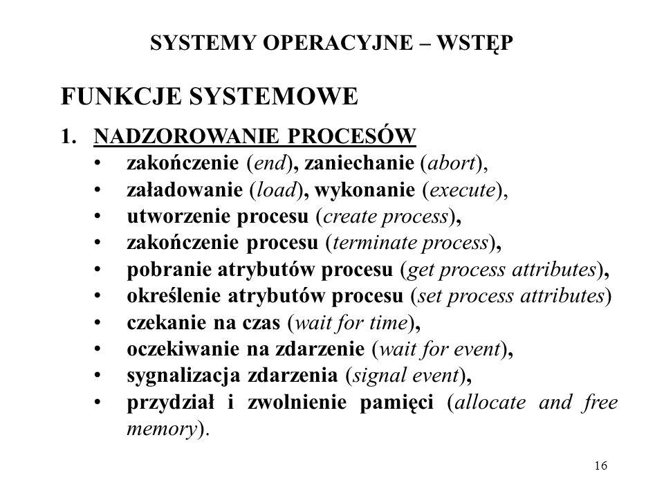 16 SYSTEMY OPERACYJNE – WSTĘP FUNKCJE SYSTEMOWE 1.NADZOROWANIE PROCESÓW zakończenie (end), zaniechanie (abort), załadowanie (load), wykonanie (execute
