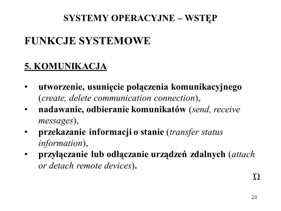 20 SYSTEMY OPERACYJNE – WSTĘP FUNKCJE SYSTEMOWE 5. KOMUNIKACJA utworzenie, usunięcie połączenia komunikacyjnego (create, delete communication connecti