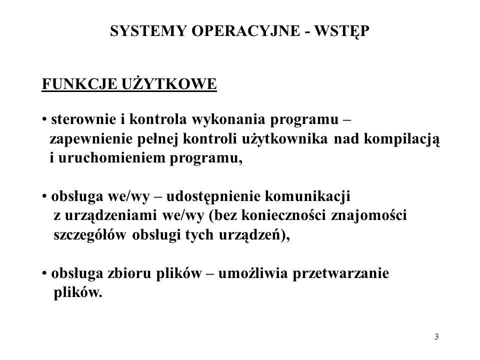 3 SYSTEMY OPERACYJNE - WSTĘP FUNKCJE UŻYTKOWE sterownie i kontrola wykonania programu – zapewnienie pełnej kontroli użytkownika nad kompilacją i uruch