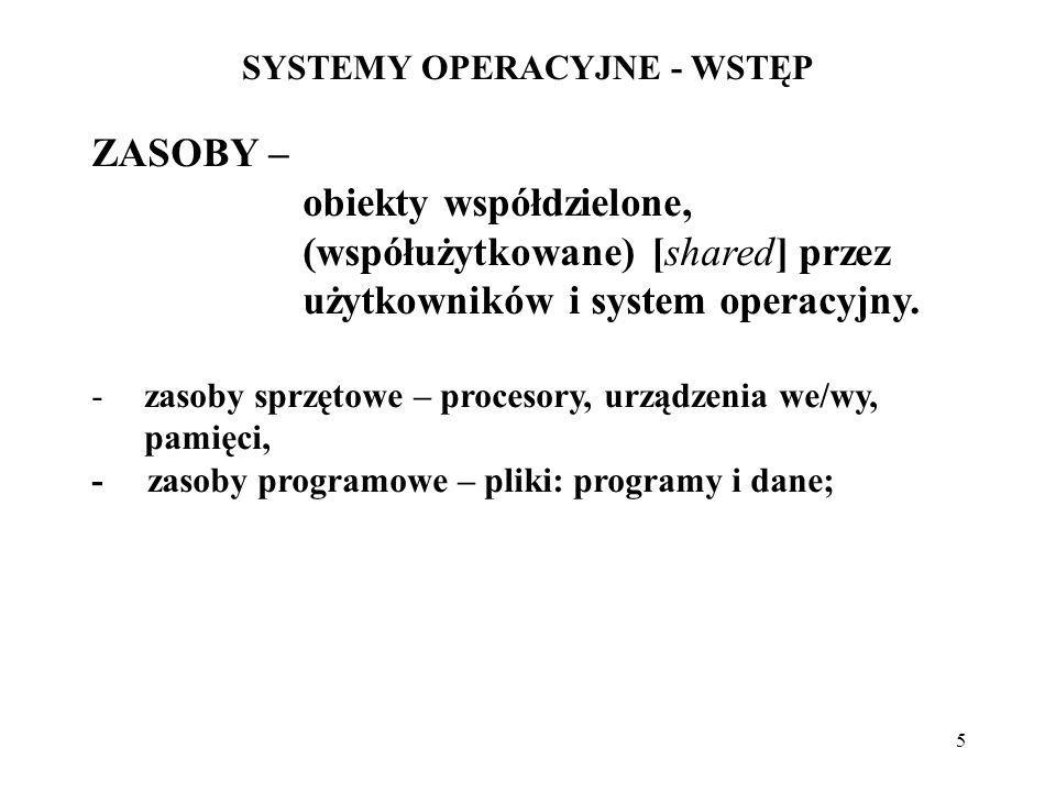 5 SYSTEMY OPERACYJNE - WSTĘP ZASOBY – obiekty współdzielone, (współużytkowane) [shared] przez użytkowników i system operacyjny. -zasoby sprzętowe – pr