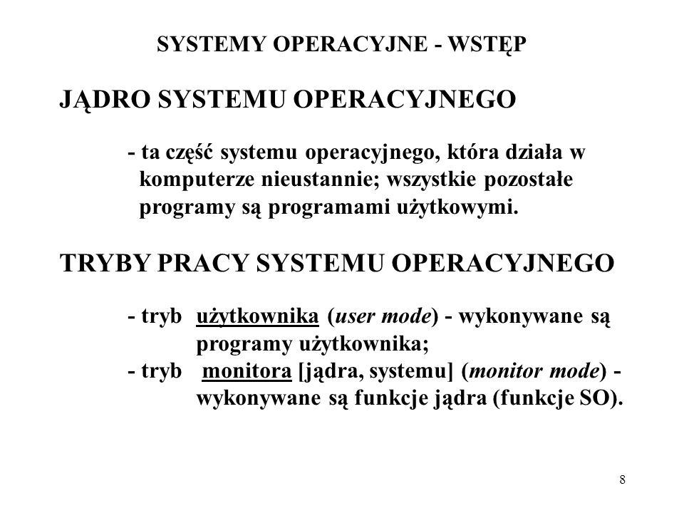 8 SYSTEMY OPERACYJNE - WSTĘP JĄDRO SYSTEMU OPERACYJNEGO - ta część systemu operacyjnego, która działa w komputerze nieustannie; wszystkie pozostałe pr