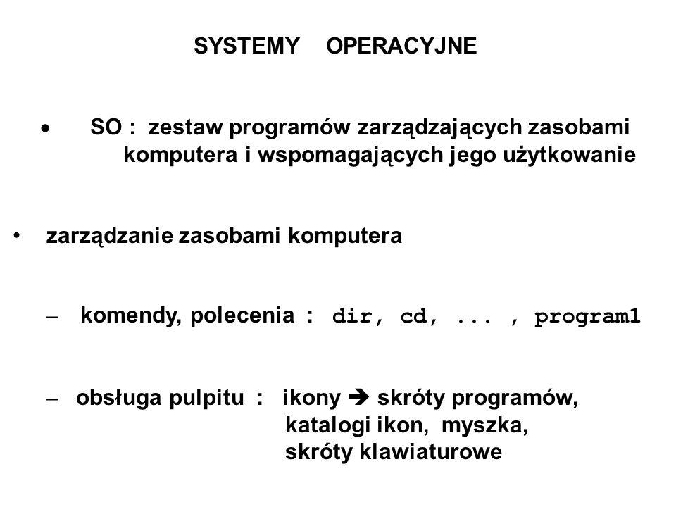 SYSTEMY OPERACYJNE SO : zestaw programów zarządzających zasobami komputera i wspomagających jego użytkowanie zarządzanie zasobami komputera – komendy,